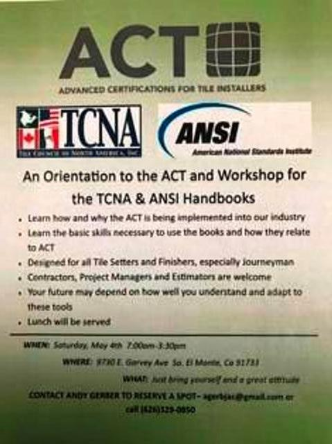 Orientation for Tilelayers interested in ACT Certification